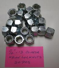 "Steel Nylon Insert Lock Nuts 1/2""-13 Qty: 20  Zinc Plated Nylock Brighton Best"