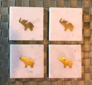 Square White Marble Coasters with Brass Elephant Inlay x4, No Cracks