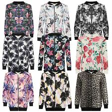 New Womens Plus Full Zip Printed Bomber Blazer Jackets 14-28