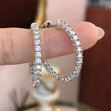 1.10Ct Round Cut VVS1/D Diamond Huggie Hoop Earrings Solid 14K White Gold Finish