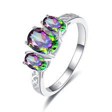 Wedding Oval Cut Rainbow Topaz & Tanzanite Gemstone Silver Ring Size L N P R
