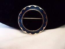 "Vintage Estate Blue Enamel Gold Plate Circle Flower Brooch Pin 1 1/8"""