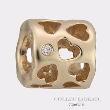 Authentic Pandora 14k Gold Diamond Tunnel of Love Bead 750275D *LAST ONE
