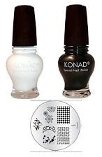 Konad nail art Gold Black+White 12 ml Special Polish + M- 99  Image Plate