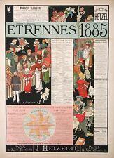 AFFICHE ANCIENNE ÉTRENNES 1885 COLLECTION HETZEL JULES VERNE