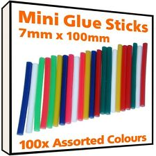 100 x Coloured Hot Melt Mini Glue Sticks for 7mm 7.2mm 8mm Gun Craft Adhesive