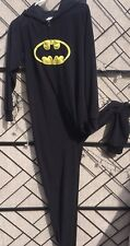 Batman Fleece One Piece Hooded Pajamas Union Suit Adult Women's Sz Jr 13 Black