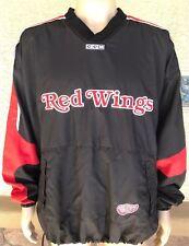Vintage Detroit Red Wings NHL V Neck Windbreaker Pullover Jacket CCM Korea 2XL