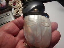 Other mother of pearl shell snuff bottle screw on metal top old estate