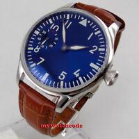 44mm PARNIS blue dial luminous hand winding 6497 mechanical mens watch P1257
