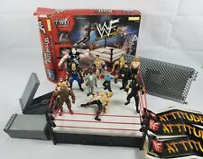 WWE WWF Attitude Wrestling Ring Steel Cage Match Catapults Jakks Figures Lot Kid