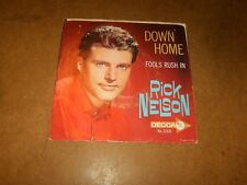 RICK NELSON - DOWN HOME - FOOLS RUSH IN  - ONLY COVER NO RECORD