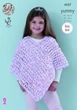 King Cole Knitting Pattern Ponchos Chunky Yummy 4537