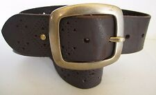 VG+ FUN & STYLISH ESPRIT #1199 PERFORATED & STUDDED BROWN BELT 31'