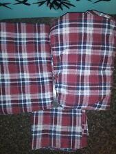 Nautical Plaid Red Milbrook 3 PieceTwin Sheet Set Cotton Blend Euc !!!