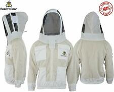 Bee Jacket 3x Layers Safety Unisex White Fabric Mesh Beekeeping Jacket, Bee Suit
