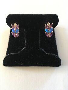 Blue Fire Opal Purple Amethyst GP Leverback Earrings