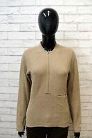 Maglione Donna LEE Taglia Size M Cardigan Maglia Felpa Sweater Pullover Beige