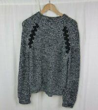 JOA Los Angeles Long Sleeve Knit Sweater Braid Detail Black White Women's Small