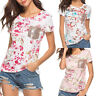Women Floral Print Short Sleeves T-Shirt Casual Loose Blouse Pullover Tops Beach