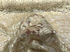 Gold Damask with Metallic Cord on a Mesh Lace