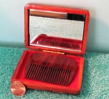 VTG Wood Inlay Mother of Pearl Case, Comb & Mirror Set, Hinged Trinket Box