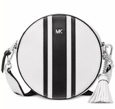 New Michael Kors Logo Pebble Leather Canteen Bag white black silver stripes