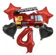 6 Folienballons für 4. Geburtstag 🎁 Feuerwehr wiederverwendbar Ballon Party
