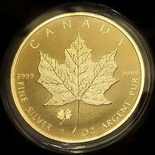 2016 Canada Silver Maple Leaf CLOVER PRIVY .9999 1oz Coin Encased in 24KT Gold