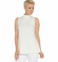 Isaac Mizrahi Live! Essentials Pima Mock-Neck Sleeveless Top - Cream - Small