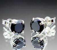 REAL Natural Black Diamond Stud Earrings AAA Grade!