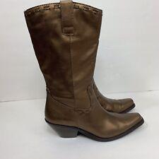 Coldwater Creek Metallic Bronze Leather Western Boots Size Women 6 1/2 M Cowboy