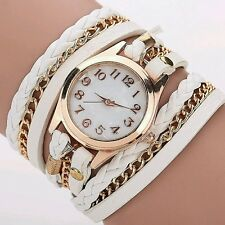 Trendy Women's Leopard Faux Leather Analog Wrap Braided Bracelet Wrist Watch