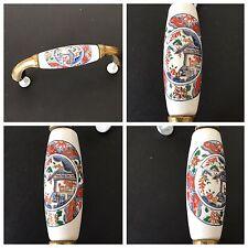 2 Vintage Brass Ceramic Drawer Pulls Handles Asian Art  Hardware