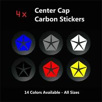 4x CHRYSLER Pentastar Center Caps CARBON Stickers Badge Logo Alloy Wheel Hub