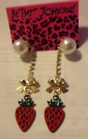 NWT BETSEY JOHNSON STRAWBERRY STUD EARRINGS PEARL CRYSTAL RED ENAMEL