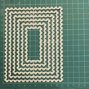 Brand New 6 Reverse Scalloped Stamp Edge Nesting Rectangle Framelit Metal Die