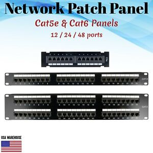 Network Patch Panel for Cat5e Cat6 110Type 12 24 48 Ports RJ45 Ethernet Rack Lot