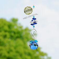 Blue Crystal Ball Suncatcher Feng Shui Prisms Pendant Car Xmas Wedding Decor