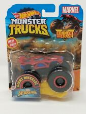 New 2019 Hot Wheels Marvel Spider-Man Monster Truck with Connect and Crash Car
