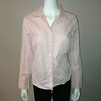 Eddie Bauer Shirt Size M Medium Womens Button Down Blouse Top Pink Striped