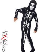 Child Skeleton Onesie Costume Boys Kids Halloween Fancy Dress Outfit New