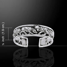 Wolf .925 Sterling Silver Bangle Bracelet by Peter Stone Jewelry