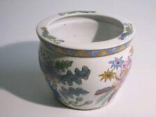 Vintage Pot Chinoise Peinture avec Fleurs Colorés Porcelaine D'Époque Xx Sec