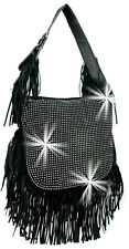 Rhinestone Accented Large Fringed Woven Sling Handbag Fashion Purse Bag Bling