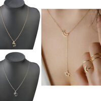 Women Simple Necklace Gold Silver Moon Star Long Pendant Choker Chain Jewelry