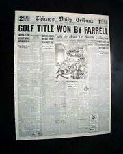 JOHNNY FARRELL Beats Bobby Jones U.S. OPEN Golf Title w/ Photos 1928 Newspaper