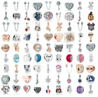 European Silver CZ Charm Beads Pendant fit 925 Sterling Bracelet Necklace Chain