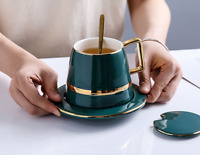 Creative Drawing gold Porcelain Tea Cup and Saucer Coffee Cup Set With Spoon Lid