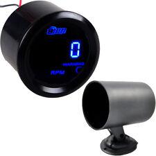 "2"" 52mm Black Car Vehicle Universal Digital Blue LED Tacho Gauge Meter RPM + Pod"